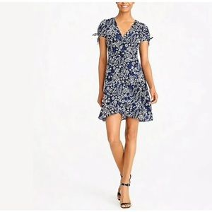 J Crew Blue Floral Faux Wrap Dress Sz 6